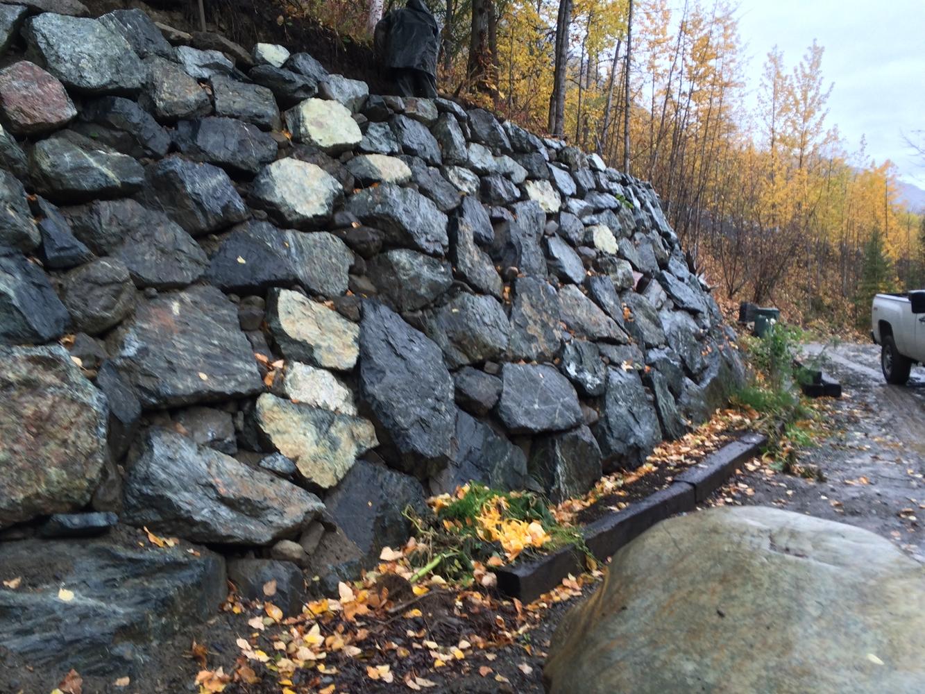 Alaska Retaining Wall Install 2