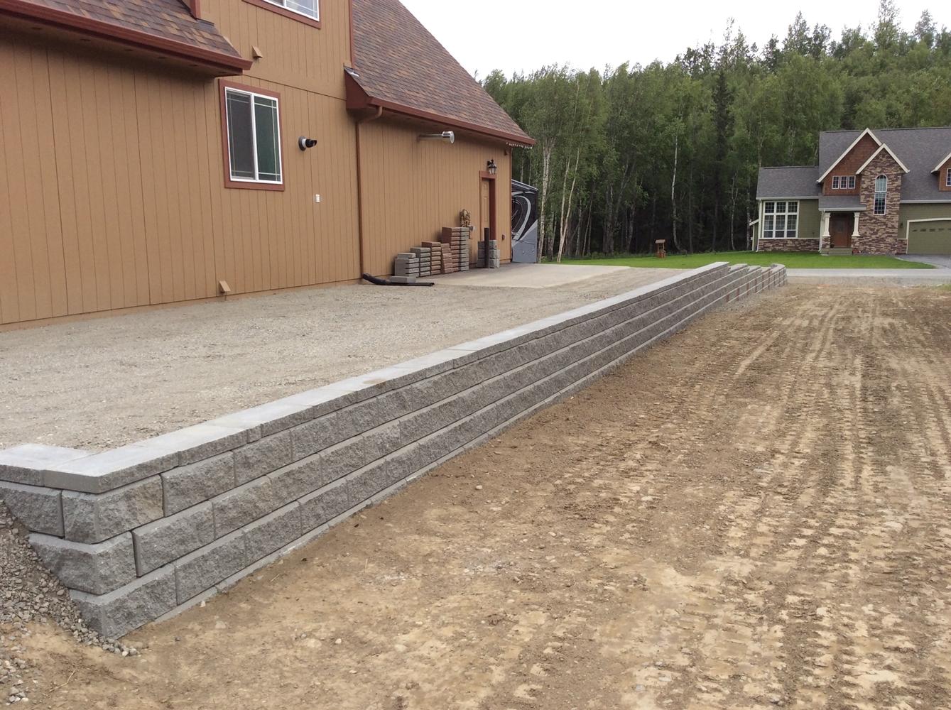 Alaska Retaining Wall Install 3