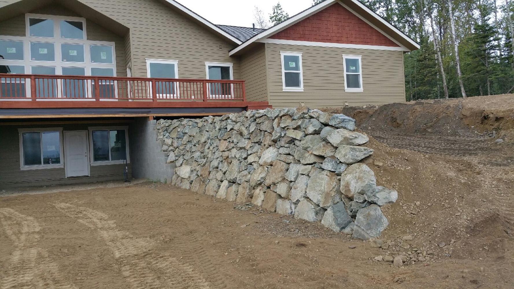 Alaska Retaining Wall Install 4