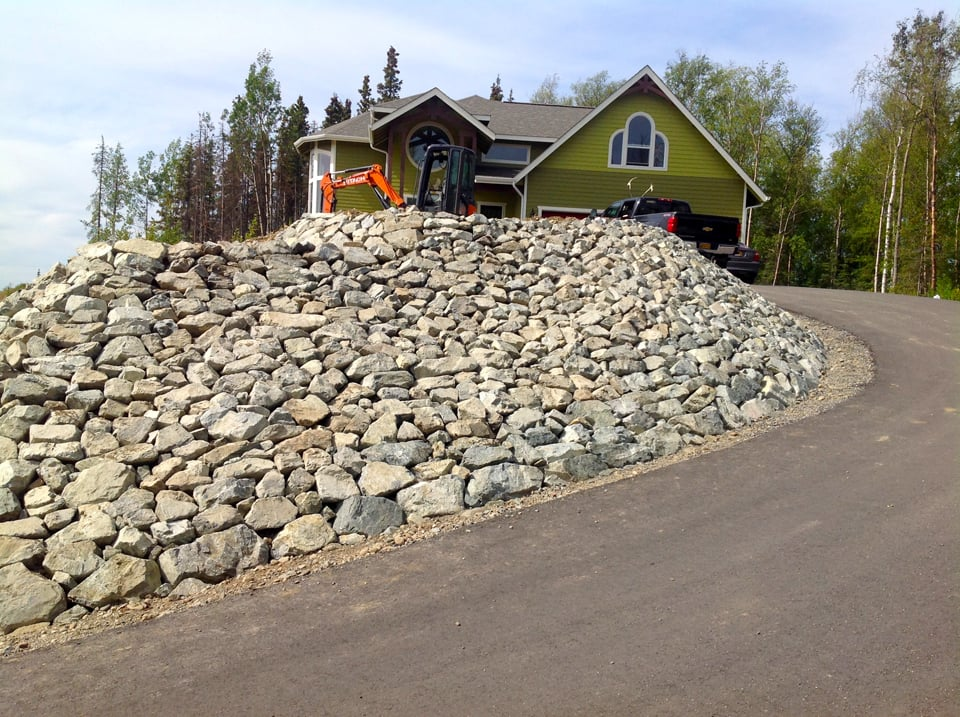 Natural rock retaining wall in Anchorage, Alaska