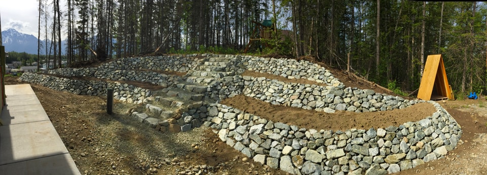 Retaining wall landscaping with stairs wide angle view
